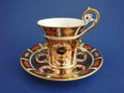 Rare Royal Crown Derby 'Old Imari Japan' Pattern 1128 Empire Cup and Saucer c1916